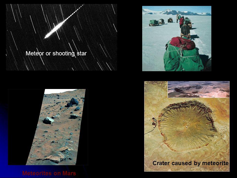 Meteor or shooting star Meteorites on Mars Crater caused by meteorite