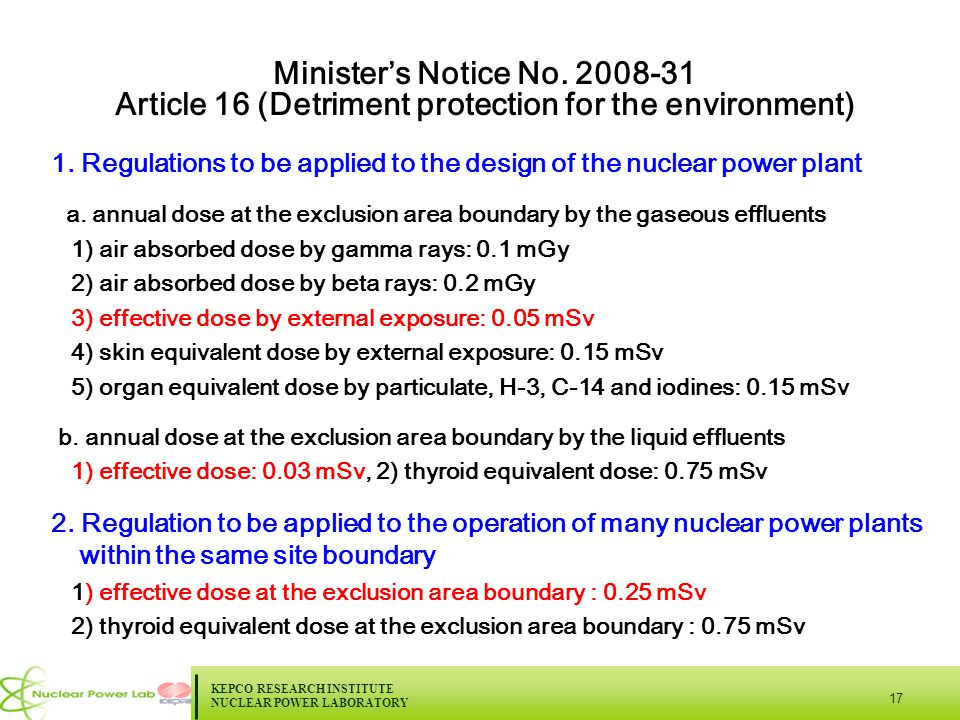 KEPCO RESEARCH INSTITUTE NUCLEAR POWER LABORATORY 17 Minister's Notice No.