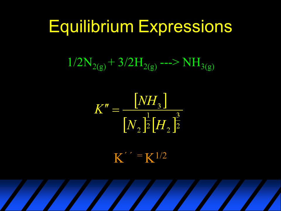 Equilibrium Expressions 1/2N 2(g) + 3/2H 2(g) ---> NH 3(g) K ´ ´ = K 1/2