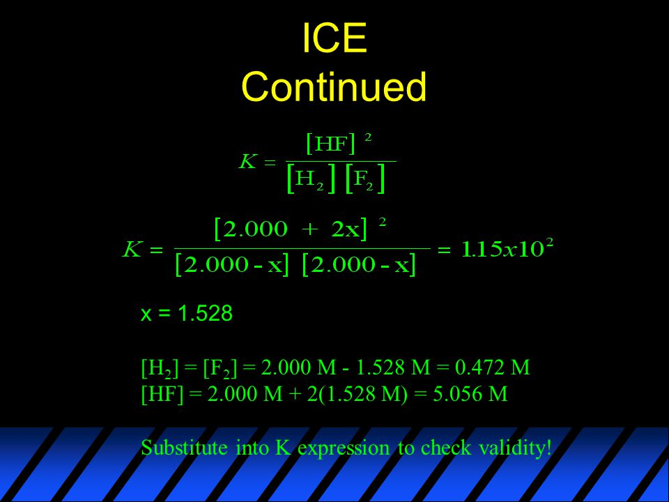 ICE Continued x = [H 2 ] = [F 2 ] = M M = M [HF] = M + 2(1.528 M) = M Substitute into K expression to check validity!