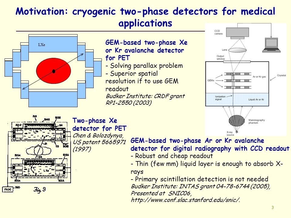 3 Motivation: cryogenic two-phase detectors for medical applications LXe GEM-based two-phase Xe or Kr avalanche detector for PET - Solving parallax pr