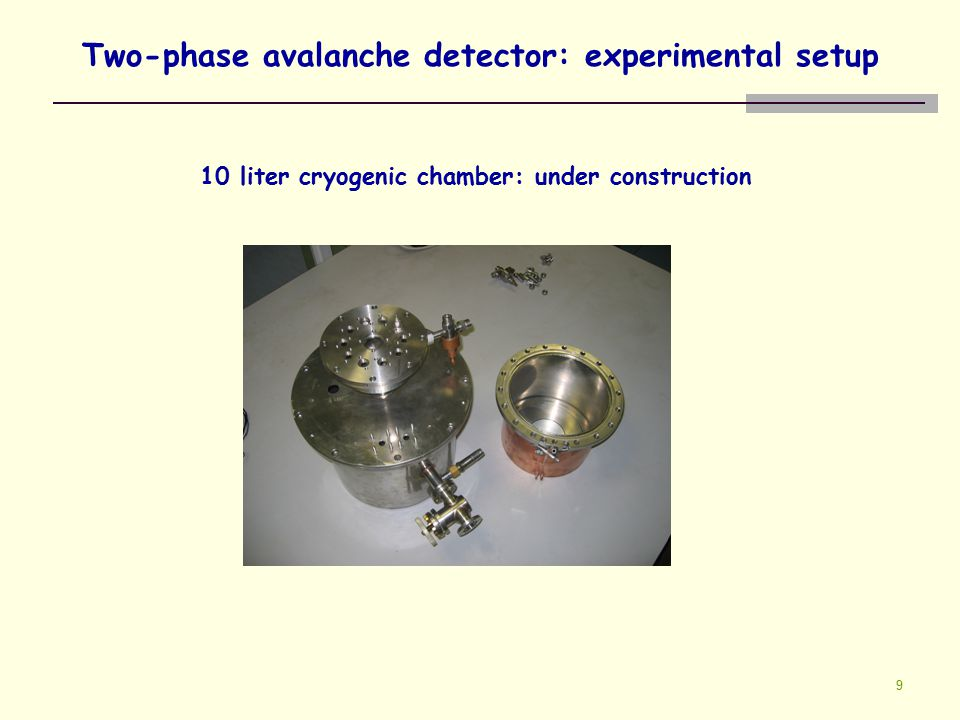 9 Two-phase avalanche detector: experimental setup 10 liter cryogenic chamber: under construction