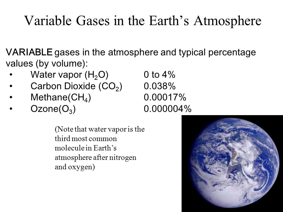 Variable Gases - Water Vapor Water Vapor ImageVisible Image Water vapor is invisible – don't confuse it with cloud droplets Less than 0.25% of total atmosphere Surface percentages vary between <<1% in desserts to 4% in tropics Typical mid-latitude value is about 1-2% Some satellites sensors can detect actual water vapor in atmosphere