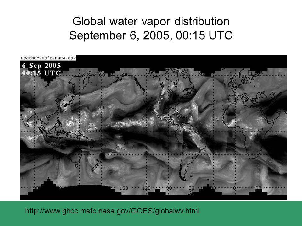 Global water vapor distribution September 6, 2005, 00:15 UTC http://www.ghcc.msfc.nasa.gov/GOES/globalwv.html