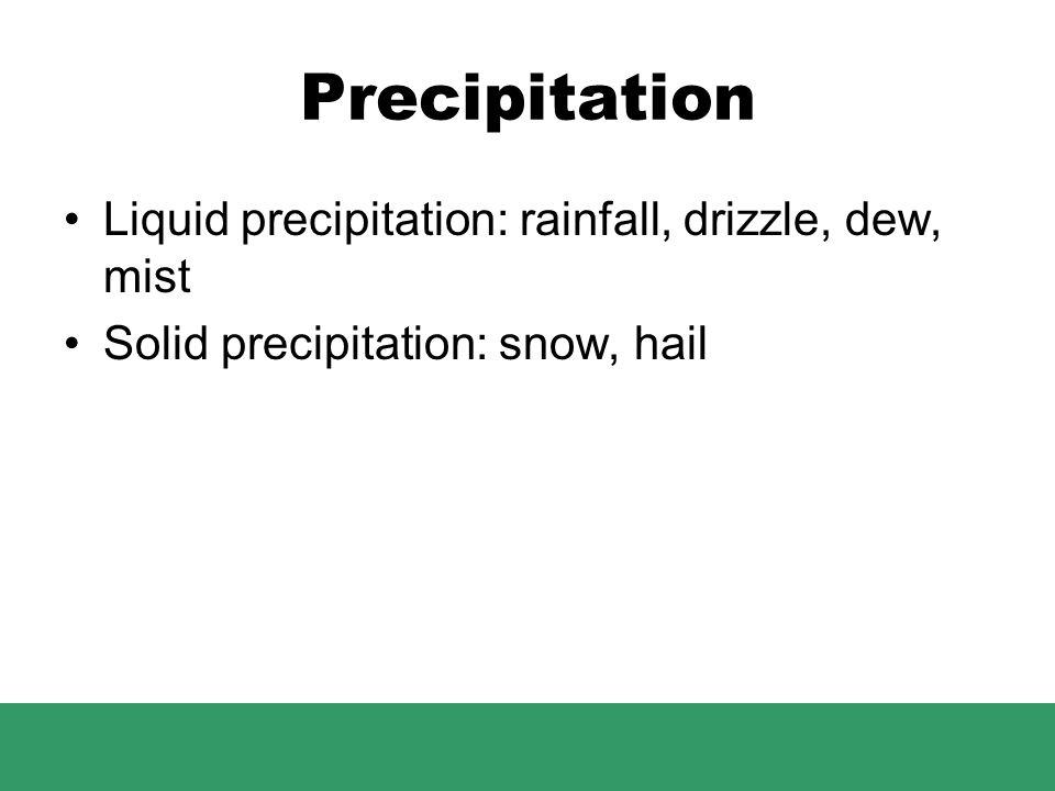 Precipitation Liquid precipitation: rainfall, drizzle, dew, mist Solid precipitation: snow, hail