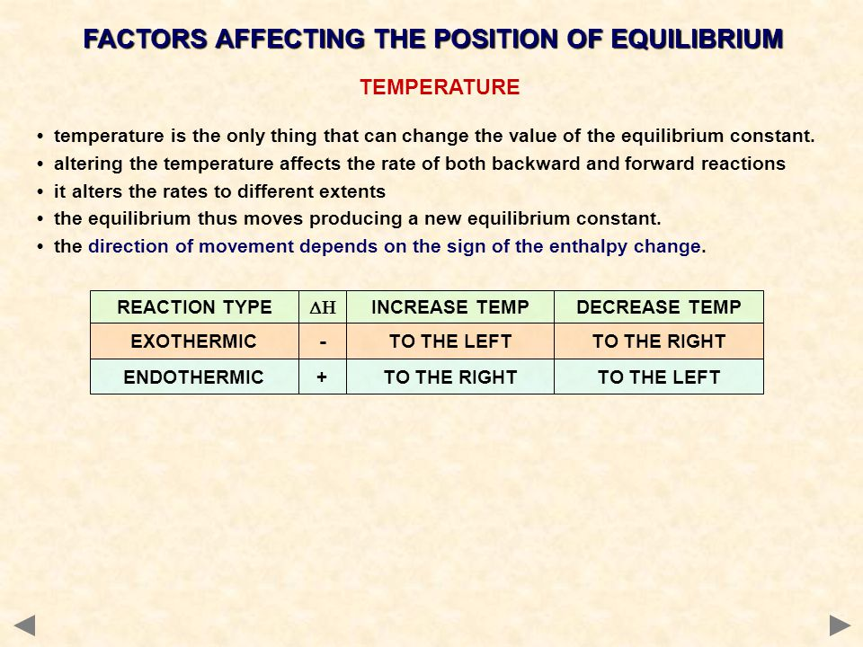 TEMPERATURE temperature is the only thing that can change the value of the equilibrium constant.