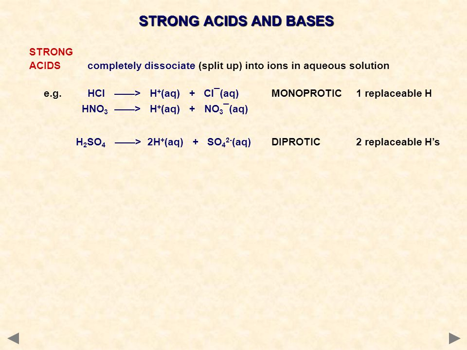 STRONG ACIDS completely dissociate (split up) into ions in aqueous solution e.g.