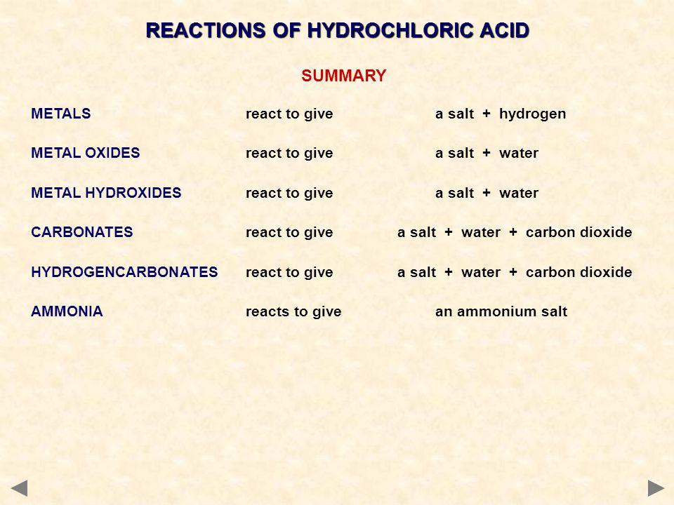 SUMMARY METALS react to givea salt + hydrogen METAL OXIDES react to givea salt + water METAL HYDROXIDES react to givea salt + water CARBONATES react to give a salt + water + carbon dioxide HYDROGENCARBONATES react to give a salt + water + carbon dioxide AMMONIA reacts to givean ammonium salt REACTIONS OF HYDROCHLORIC ACID