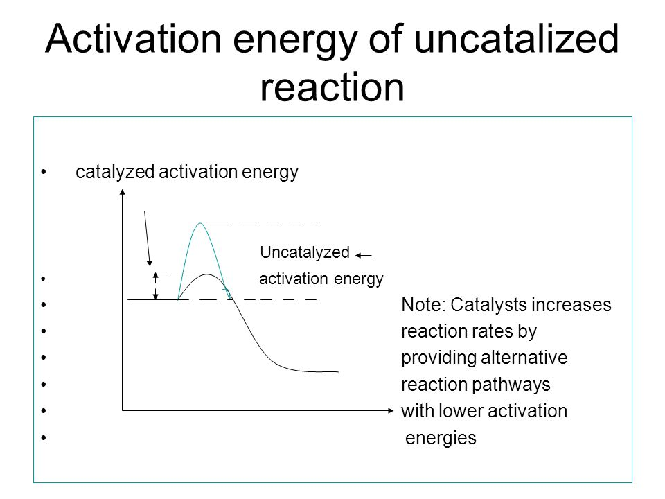 Activation energy of uncatalized reaction catalyzed activation energy Uncatalyzed activation energy Note: Catalysts increases reaction rates by providing alternative reaction pathways with lower activation energies
