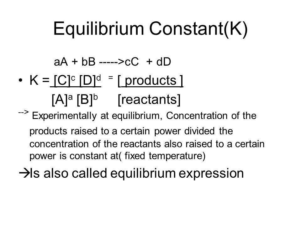 Equilibrium Constant(K) aA + bB ----->cC + dD K = [C] c [D] d = [ products ] [A] a [B] b [reactants] --> Experimentally at equilibrium, Concentration
