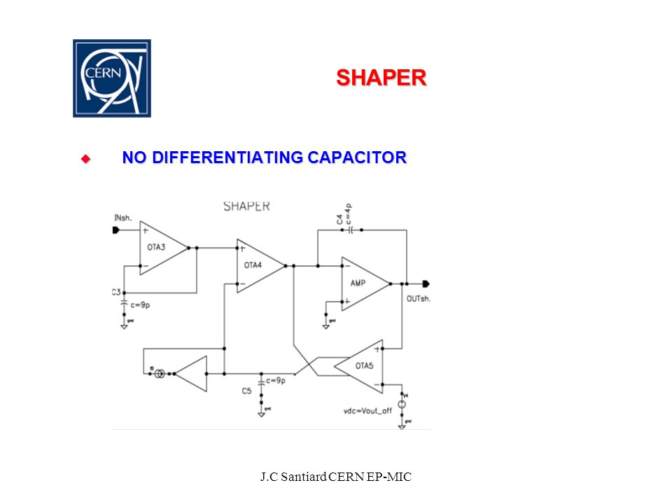 J.C Santiard CERN EP-MIC SHAPER  NO DIFFERENTIATING CAPACITOR