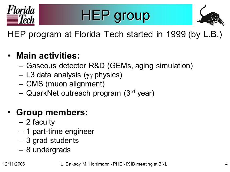 12/11/2003L.Baksay, M. Hohlmann - PHENIX IB meeting at BNL5 Florida Tech & Debrecen L.B.