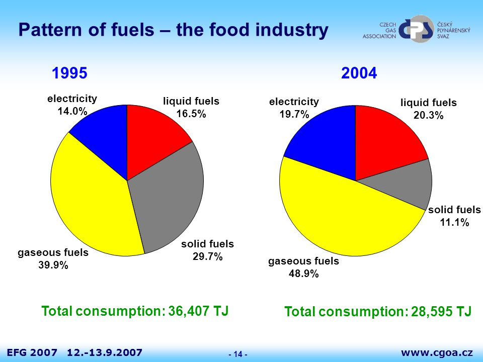 www.cgoa.czEFG 2007 12.-13.9.2007 - 14 - Pattern of fuels – the food industry liquid fuels 20.3% solid fuels 11.1% gaseous fuels 48.9% electricity 19.7% liquid fuels 16.5% solid fuels 29.7% gaseous fuels 39.9% electricity 14.0% 1995 2004 Total consumption: 36,407 TJ Total consumption: 28,595 TJ