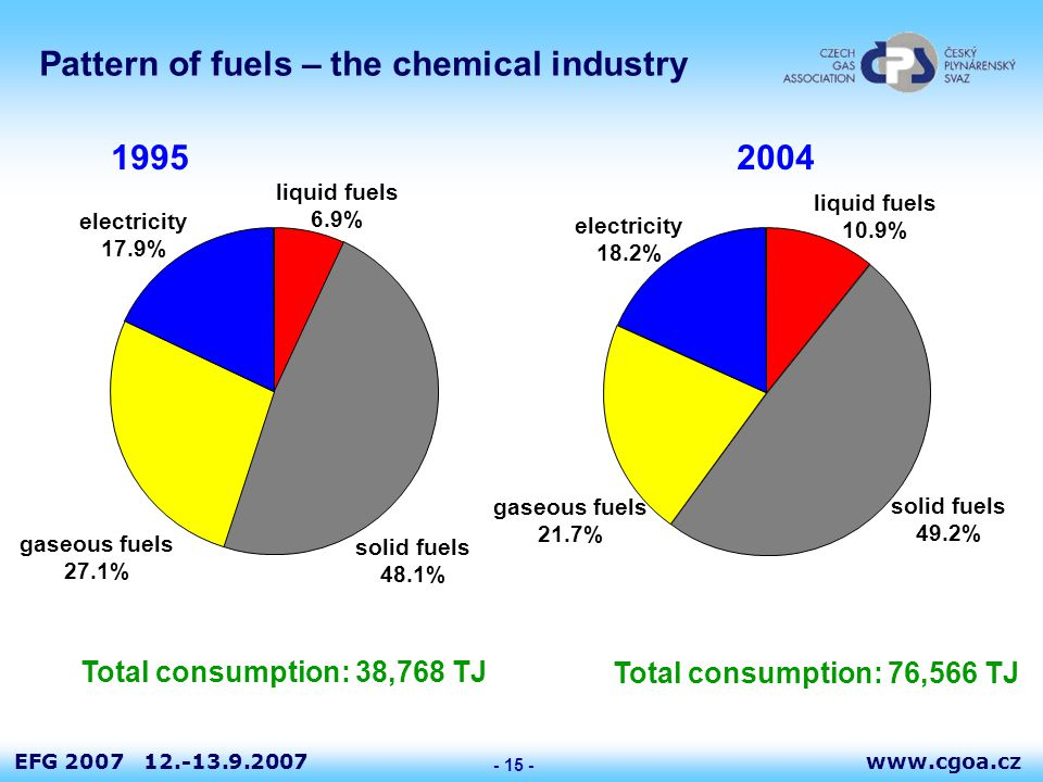 www.cgoa.czEFG 2007 12.-13.9.2007 - 15 - Pattern of fuels – the chemical industry 19952004 Total consumption: 38,768 TJ Total consumption: 76,566 TJ liquid fuels 6.9% solid fuels 48.1% gaseous fuels 27.1% electricity 17.9% liquid fuels 10.9% solid fuels 49.2% gaseous fuels 21.7% electricity 18.2%