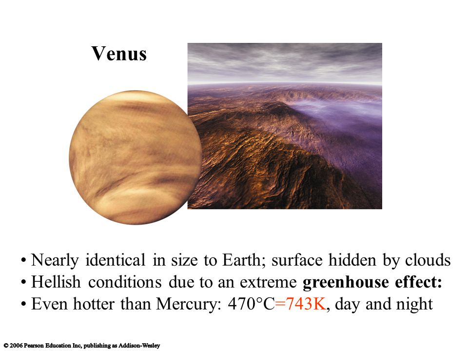 Nearly identical in size to Earth; surface hidden by clouds Hellish conditions due to an extreme greenhouse effect: Even hotter than Mercury: 470°C=743K, day and night Venus