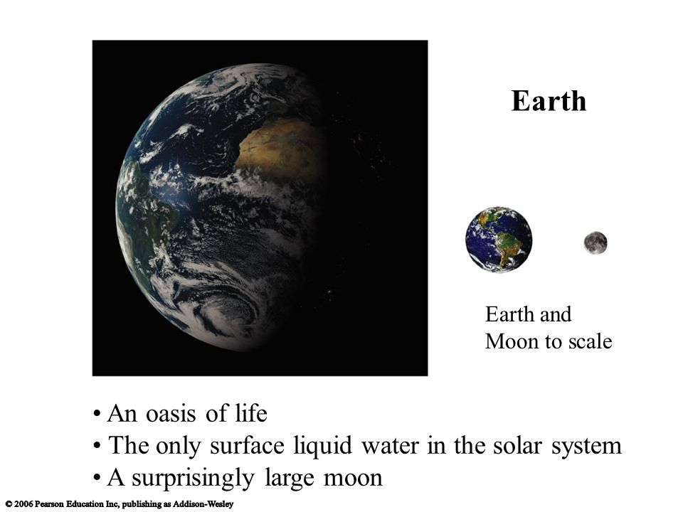 An oasis of life The only surface liquid water in the solar system A surprisingly large moon Earth and Moon to scale Earth