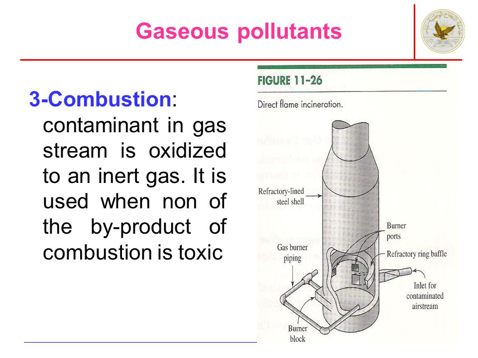 Gaseous pollutants 3-Combustion: contaminant in gas stream is oxidized to an inert gas.