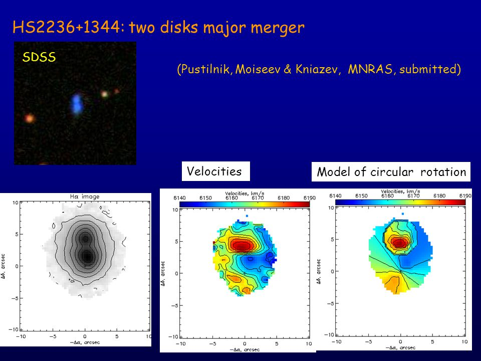 HS2236+1344: two disks major merger Velocities SDSS Model of circular rotation (Pustilnik, Moiseev & Kniazev, MNRAS, submitted)