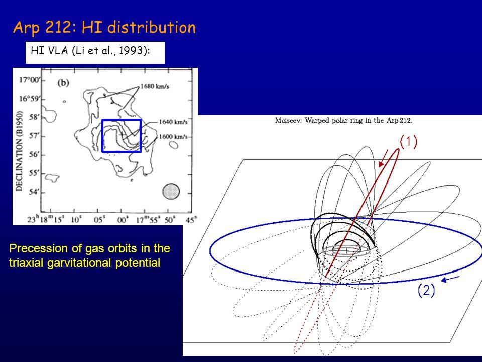 Arp 212: HI distribution HI VLA (Li et al., 1993):  Precession of gas orbits in the triaxial garvitational potential