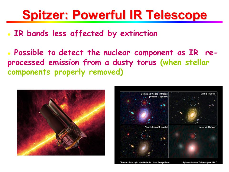 ● IR bands less affected by extinction ● Possible to detect the nuclear component as IR re- processed emission from a dusty torus (when stellar components properly removed) Spitzer: Powerful IR Telescope