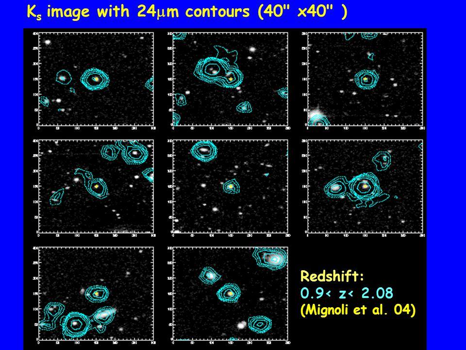 K s image with 24  m contours (40 x40 ) Redshift: 0.9< z< 2.08 (Mignoli et al. 04)