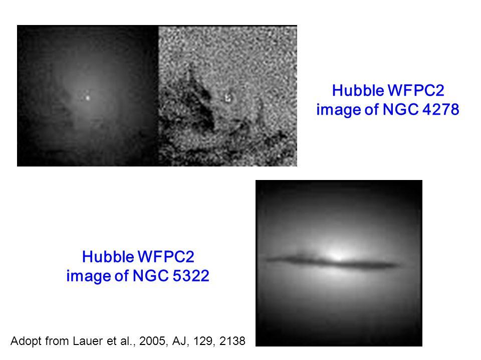 Hubble WFPC2 image of NGC 4278 Hubble WFPC2 image of NGC 5322 Adopt from Lauer et al., 2005, AJ, 129, 2138