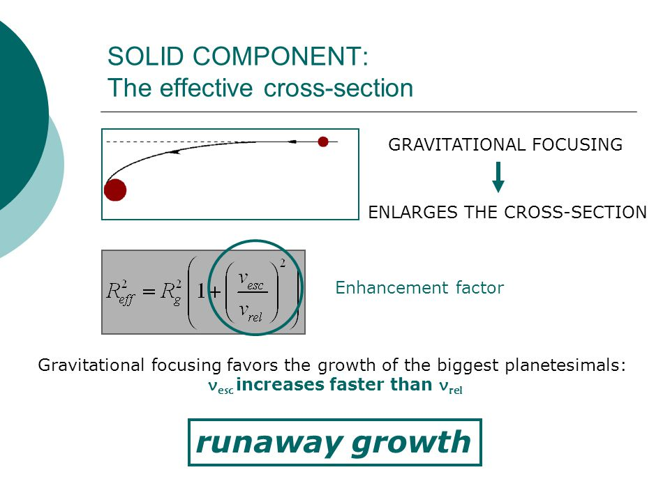 SOLID COMPONENT: The effective cross-section runaway growth GRAVITATIONAL FOCUSING ENLARGES THE CROSS-SECTION Enhancement factor Gravitational focusing favors the growth of the biggest planetesimals: v esc increases faster than v rel