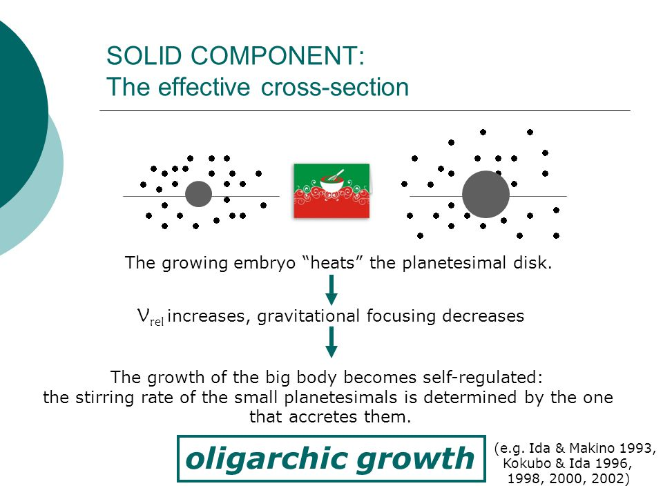 SOLID COMPONENT: The effective cross-section                                                   The growing embryo heats the planetesimal disk.