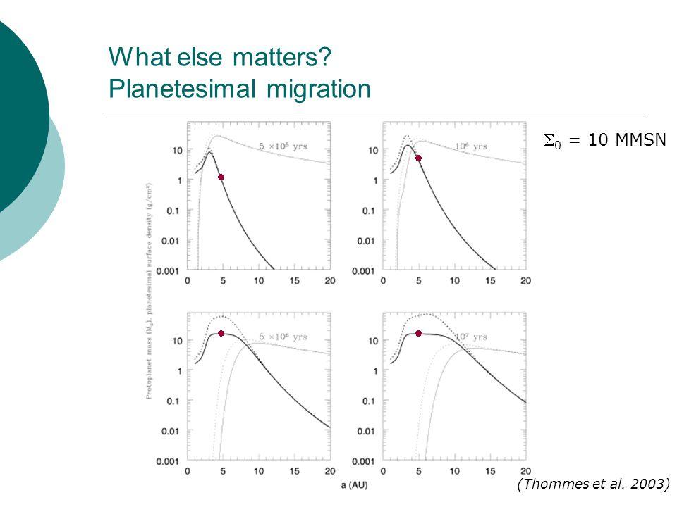 What else matters? Planetesimal migration (Thommes et al. 2003)  0 = 10 MMSN    
