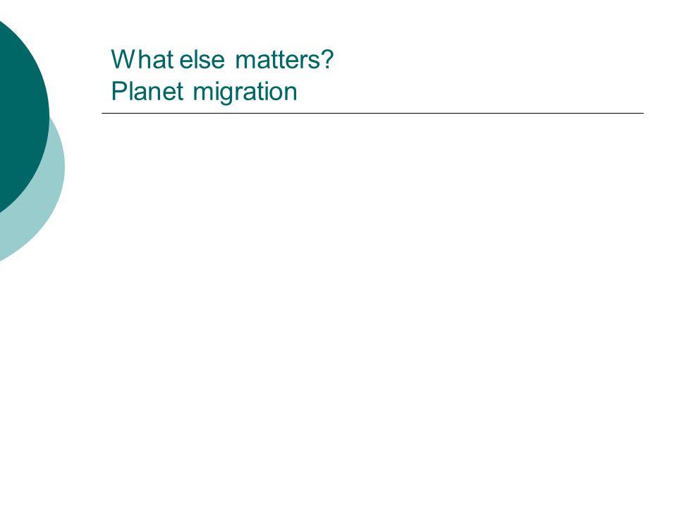 What else matters? Planet migration