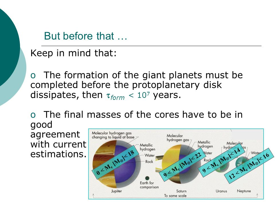 But before that … Keep in mind that: o The formation of the giant planets must be completed before the protoplanetary disk dissipates, then  form < 10 7 years.