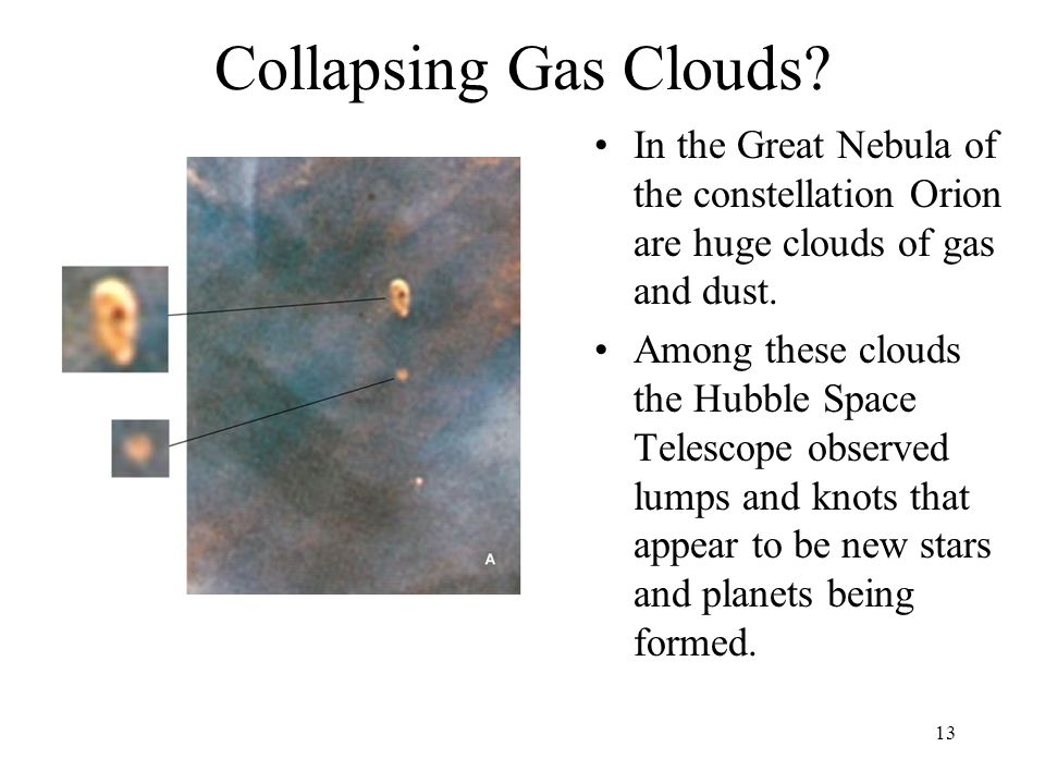 13 Collapsing Gas Clouds? In the Great Nebula of the constellation Orion are huge clouds of gas and dust. Among these clouds the Hubble Space Telescop