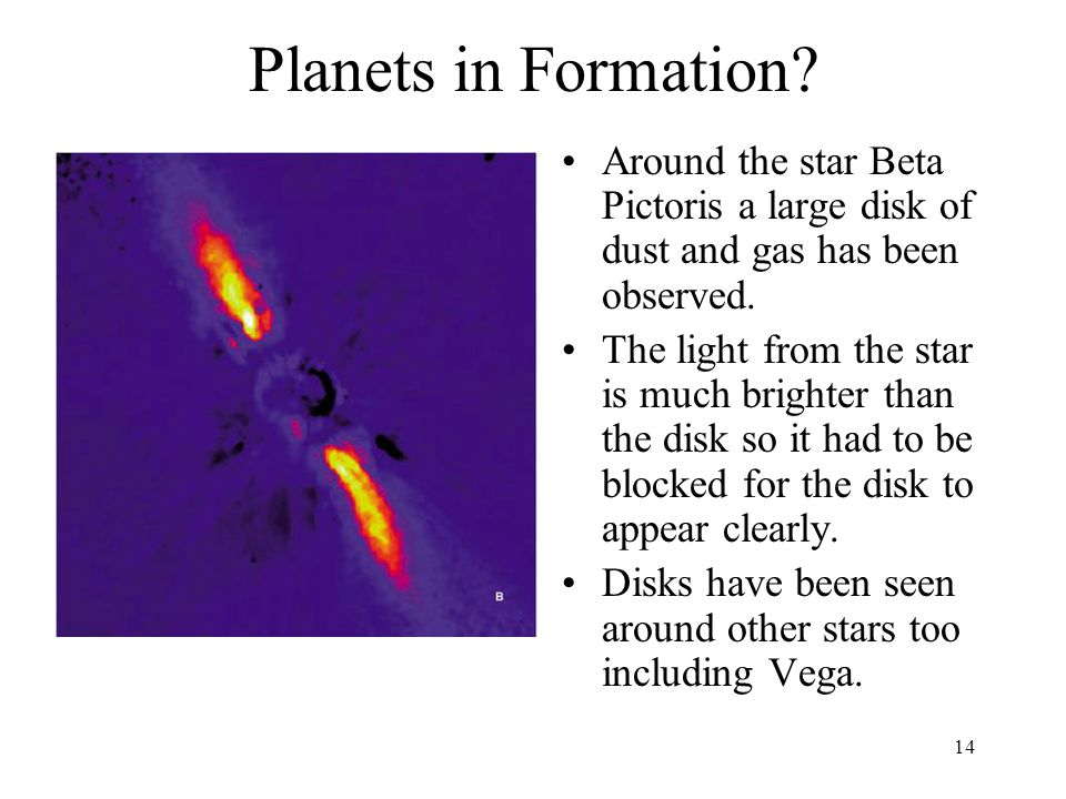 14 Planets in Formation? Around the star Beta Pictoris a large disk of dust and gas has been observed. The light from the star is much brighter than t