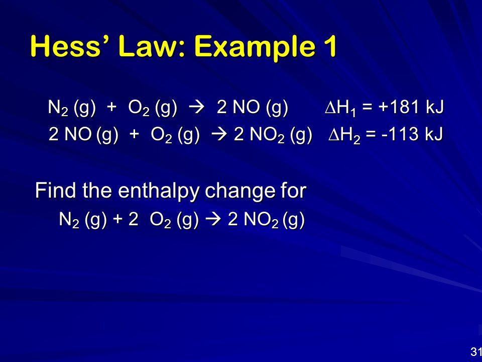 Hess' Law: Example 1 N 2 (g) + O 2 (g)  2 NO (g)  H 1 = +181 kJ N 2 (g) + O 2 (g)  2 NO (g)  H 1 = +181 kJ 2 NO (g) + O 2 (g)  2 NO 2 (g)  H 2 =