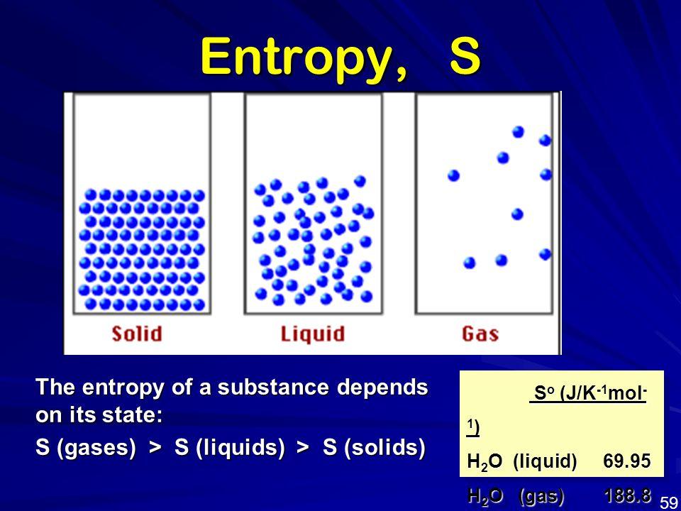 The entropy of a substance depends on its state: S (gases) > S (liquids) > S (solids) Entropy, S S o (J/K -1 mol - 1 ) S o (J/K -1 mol - 1 ) H 2 O (li