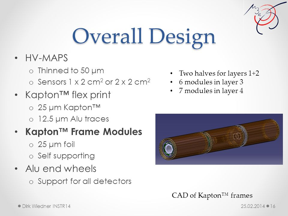 Overall Design 25.02.2014Dirk Wiedner INSTR14 16 HV-MAPS o Thinned to 50 μm o Sensors 1 x 2 cm 2 or 2 x 2 cm 2 Kapton™ flex print o 25 μm Kapton™ o 12.5 μm Alu traces Kapton™ Frame Modules o 25 μm foil o Self supporting Alu end wheels o Support for all detectors CAD of Kapton™ frames Two halves for layers 1+2 6 modules in layer 3 7 modules in layer 4