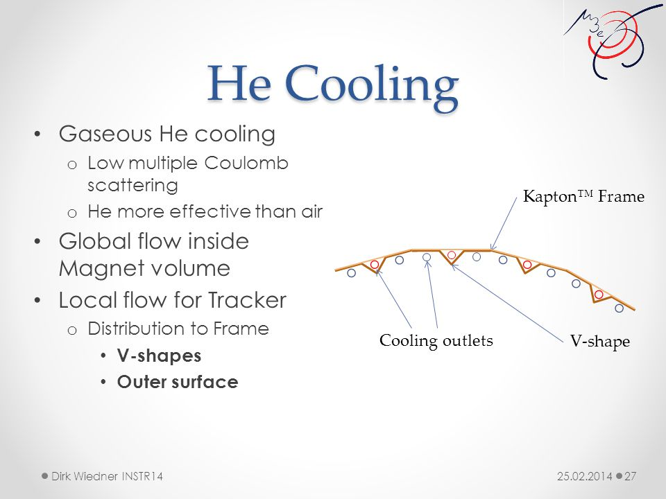 He Cooling 25.02.2014Dirk Wiedner INSTR14 27 Gaseous He cooling o Low multiple Coulomb scattering o He more effective than air Global flow inside Magnet volume Local flow for Tracker o Distribution to Frame V-shapes Outer surface Kapton™ Frame V-shape Cooling outlets
