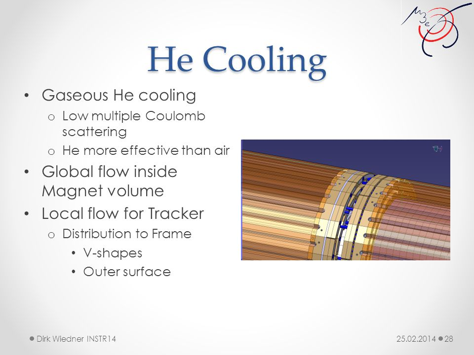 He Cooling 25.02.2014Dirk Wiedner INSTR14 28 Gaseous He cooling o Low multiple Coulomb scattering o He more effective than air Global flow inside Magnet volume Local flow for Tracker o Distribution to Frame V-shapes Outer surface