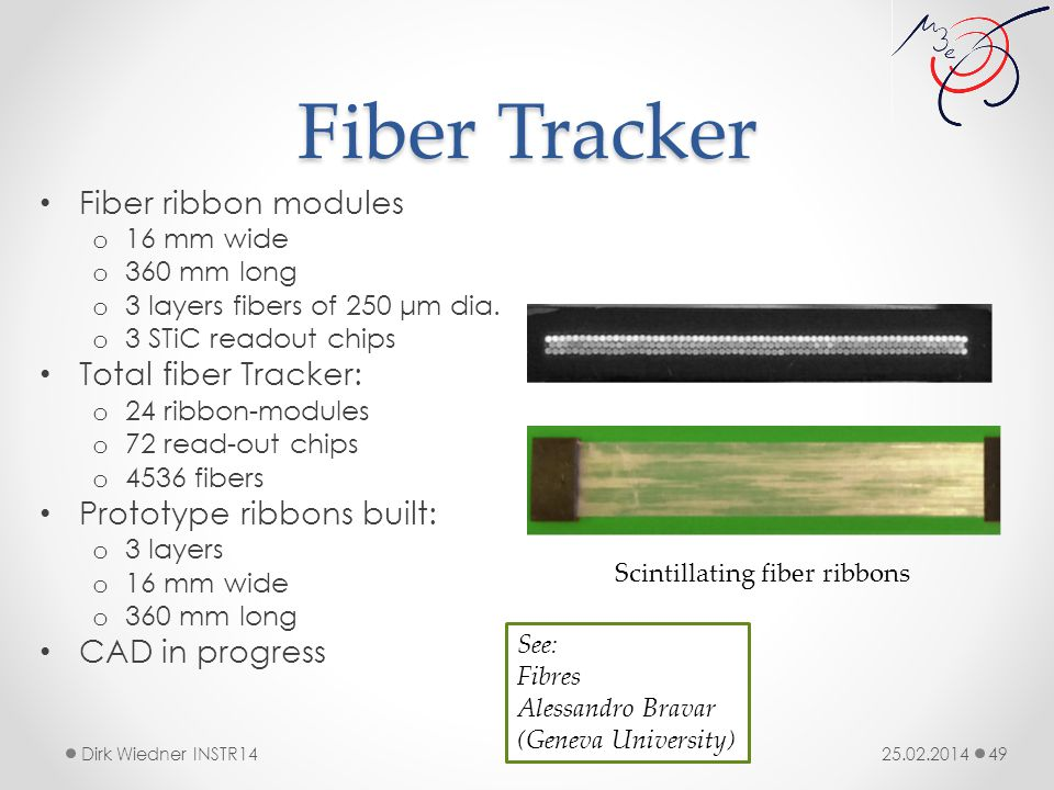 Fiber Tracker 25.02.2014Dirk Wiedner INSTR14 49 Fiber ribbon modules o 16 mm wide o 360 mm long o 3 layers fibers of 250 μm dia.