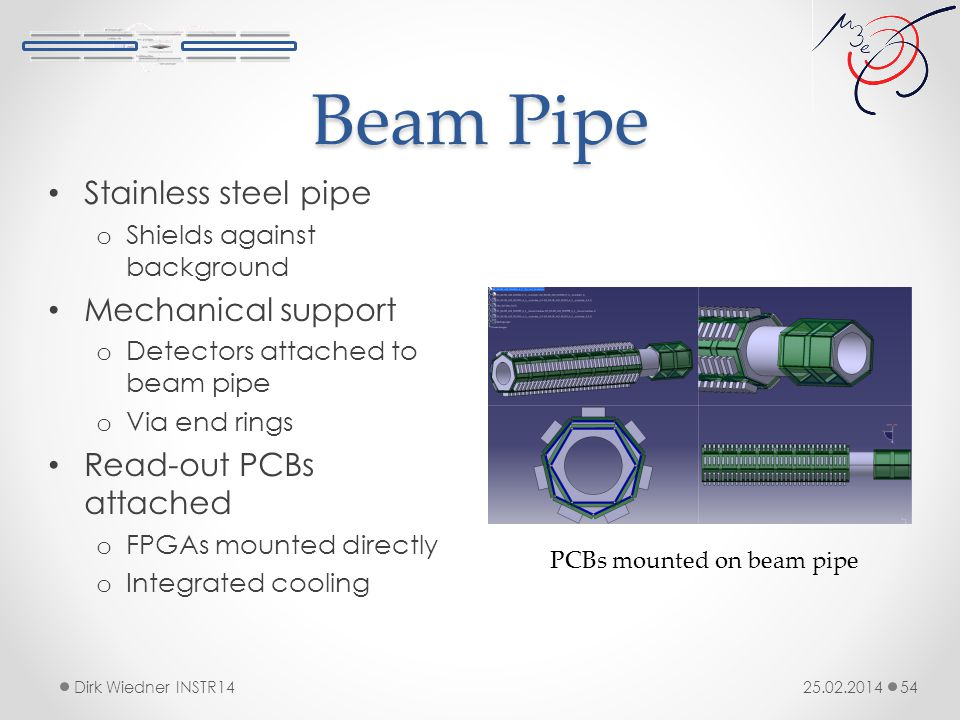 Beam Pipe 25.02.2014Dirk Wiedner INSTR14 54 Stainless steel pipe o Shields against background Mechanical support o Detectors attached to beam pipe o Via end rings Read-out PCBs attached o FPGAs mounted directly o Integrated cooling PCBs mounted on beam pipe