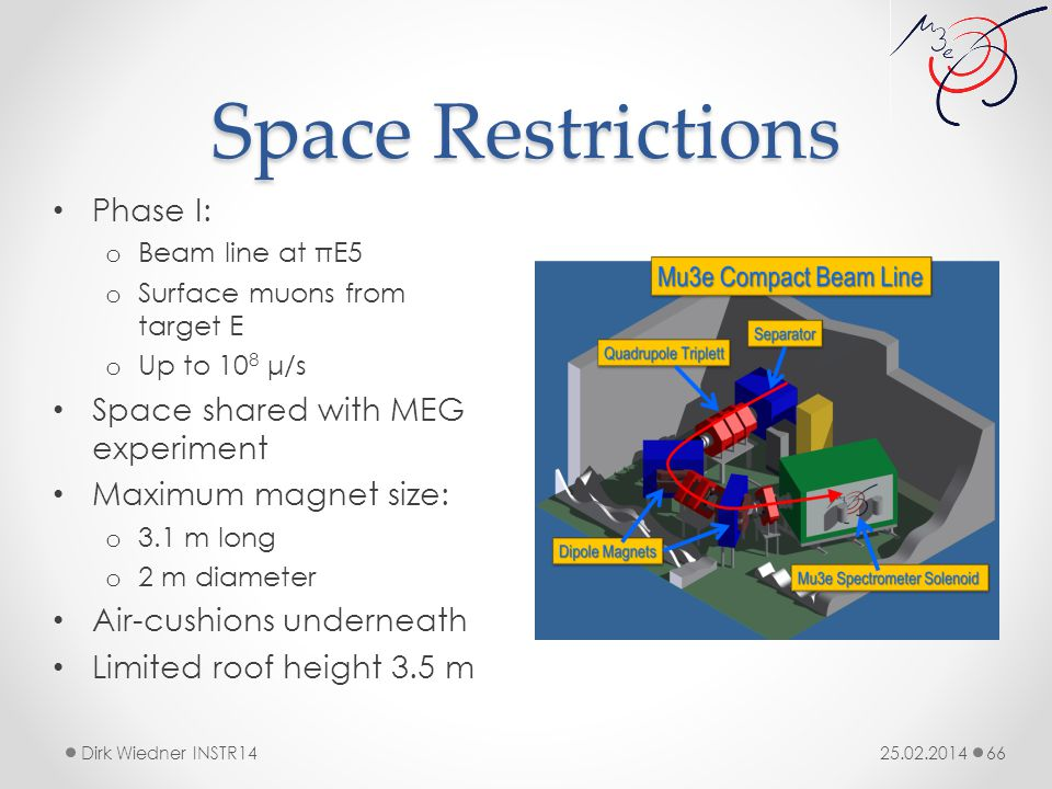 Space Restrictions 25.02.2014Dirk Wiedner INSTR14 66 Phase I: o Beam line at πE5 o Surface muons from target E o Up to 10 8 μ/s Space shared with MEG experiment Maximum magnet size: o 3.1 m long o 2 m diameter Air-cushions underneath Limited roof height 3.5 m