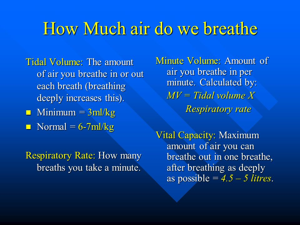 How Much air do we breathe Tidal Volume: The amount of air you breathe in or out each breath (breathing deeply increases this).