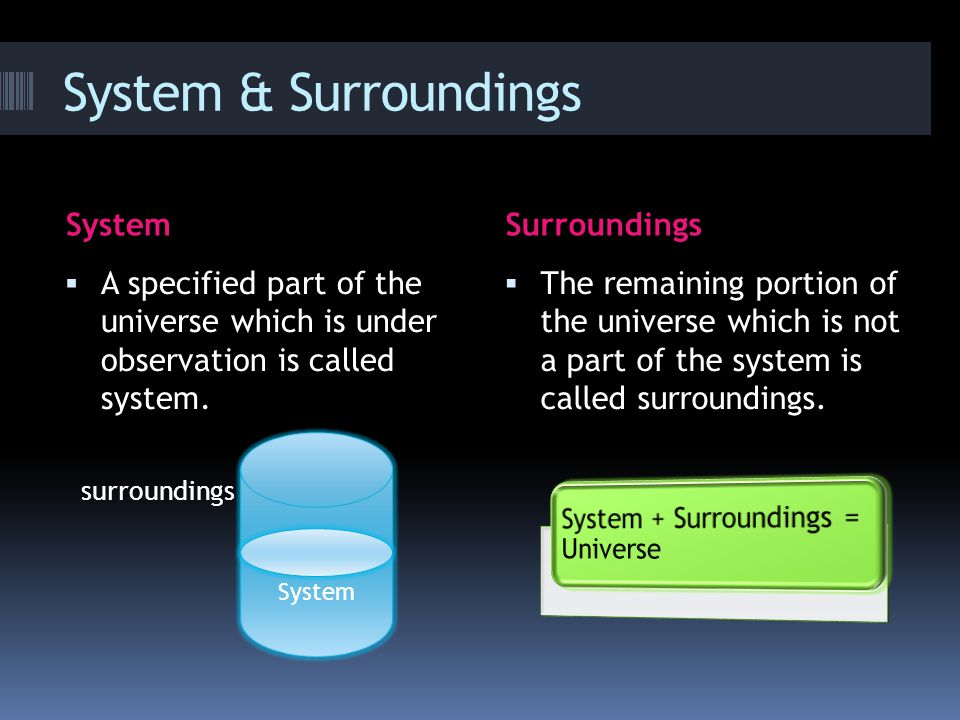 System & Surroundings SystemSurroundings  A specified part of the universe which is under observation is called system.