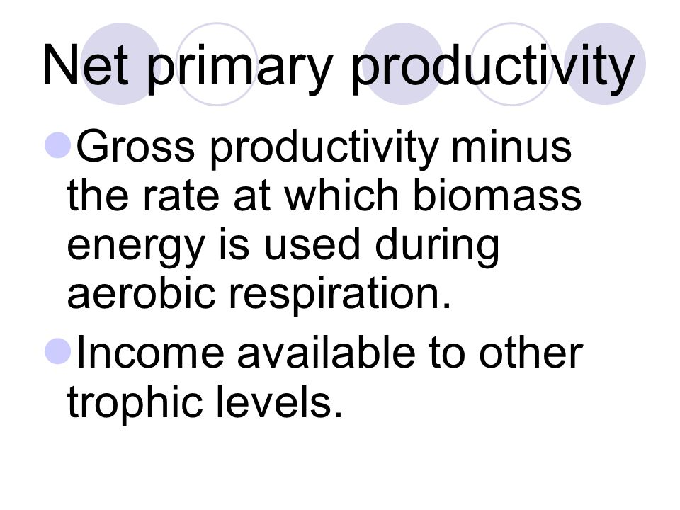 Net primary productivity Gross productivity minus the rate at which biomass energy is used during aerobic respiration. Income available to other troph