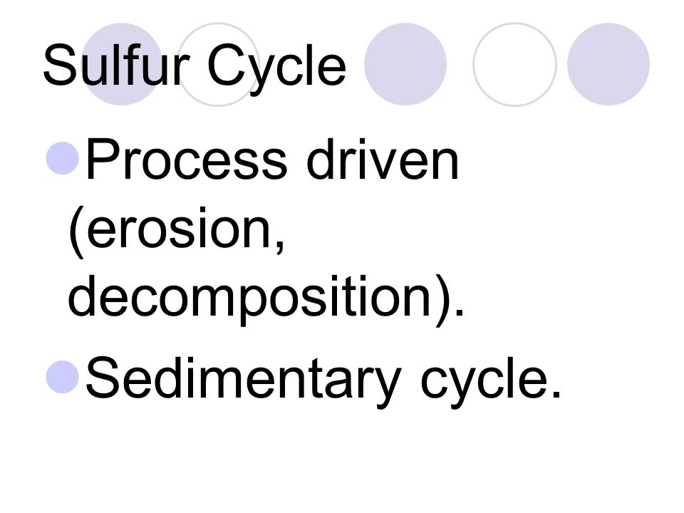 Sulfur Cycle Process driven (erosion, decomposition). Sedimentary cycle.