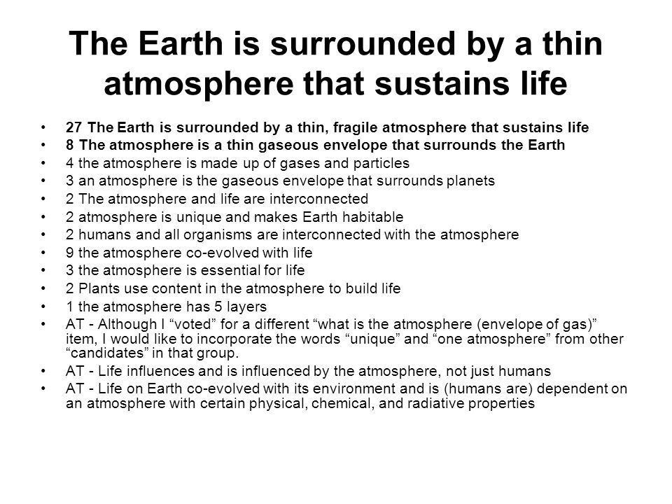 The Earth is surrounded by a thin atmosphere that sustains life 27 The Earth is surrounded by a thin, fragile atmosphere that sustains life 8 The atmo