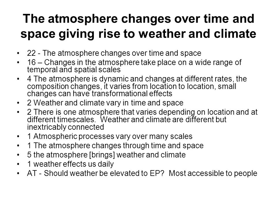 The atmosphere changes over time and space giving rise to weather and climate 22 - The atmosphere changes over time and space 16 – Changes in the atmosphere take place on a wide range of temporal and spatial scales 4 The atmosphere is dynamic and changes at different rates, the composition changes, it varies from location to location, small changes can have transformational effects 2 Weather and climate vary in time and space 2 There is one atmosphere that varies depending on location and at different timescales.