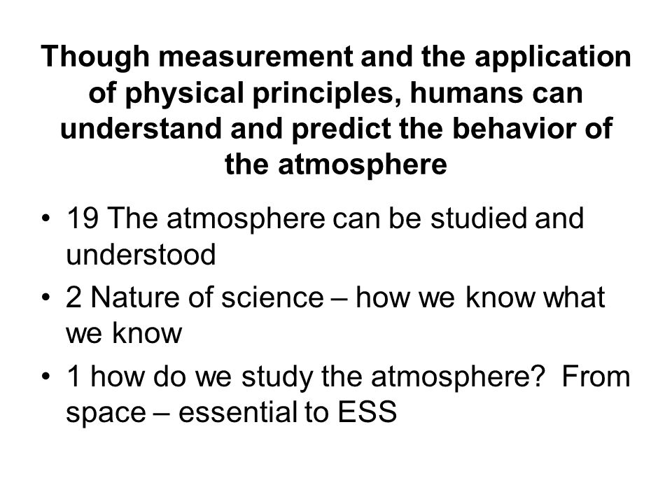 The atmosphere and humans are inextricably linked 37 Humans influence and are influenced by the atmosphere 4 The atmosphere and humans are inextricably interconnected 2 Humans change atmosphere; atmosphere changes over time 2 humans and all organisms are interconnected with the atmosphere AT - Our understanding of the atmosphere and climate informs social action and policy that is vital to the quality and continuity of life on Earth now and in the future AT - Aesthetic considerations – lightning, rainbows and glories