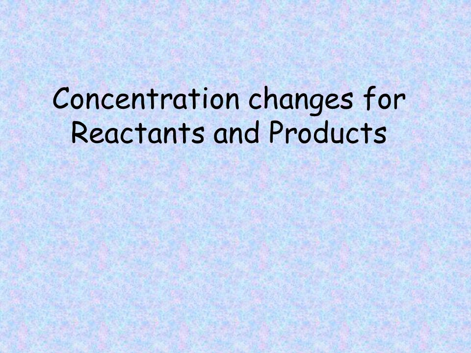 Concentration changes for Reactants and Products