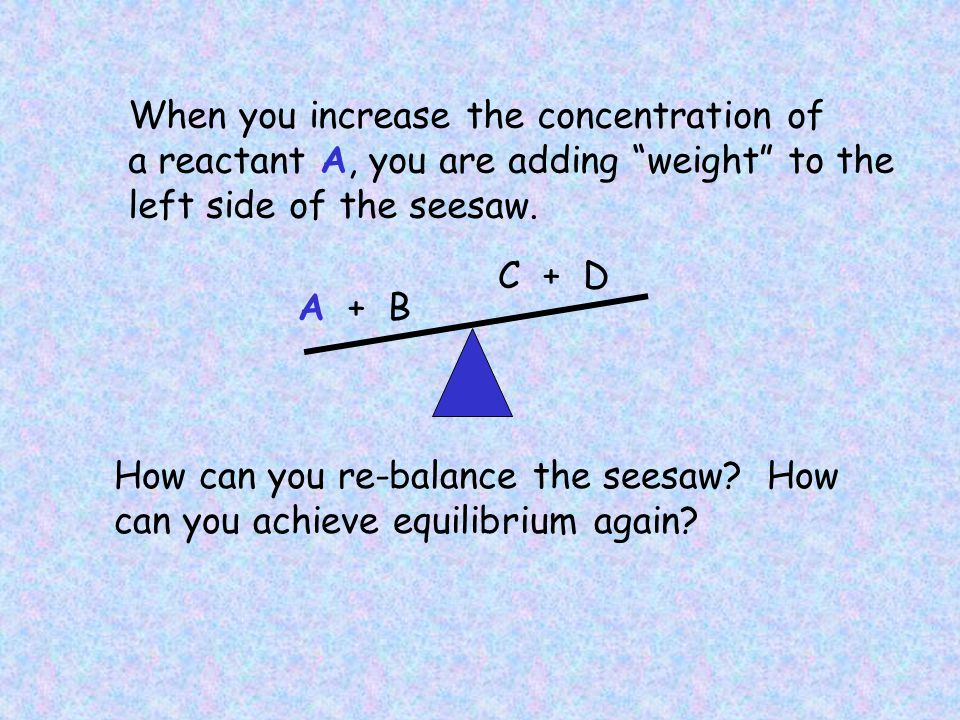 When you increase the concentration of a reactant A, you are adding weight to the left side of the seesaw.